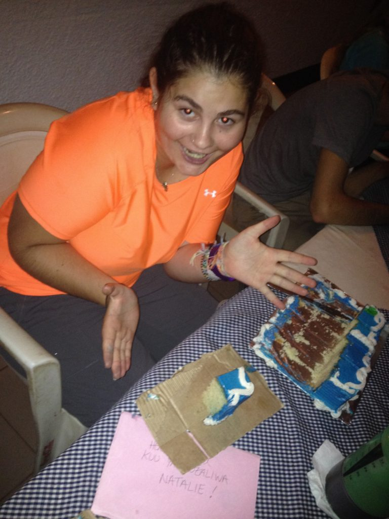 """Natalie's 18th birthday!!!!! We even served cake on fancy cardboard """"plates."""""""