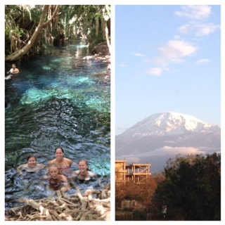 Hot Springs on Thanksgiving and the view of Mt. Kilimanjaro from the hotel