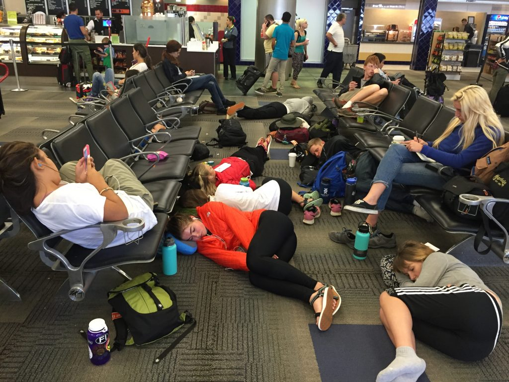 Napping while waiting for departure